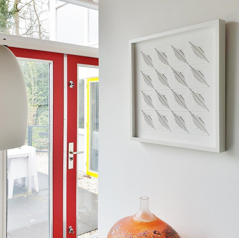Triangulairs form 16 quadrants 52 - contemporary modern abstract painting relief - Sculpture by Eef de Graaf