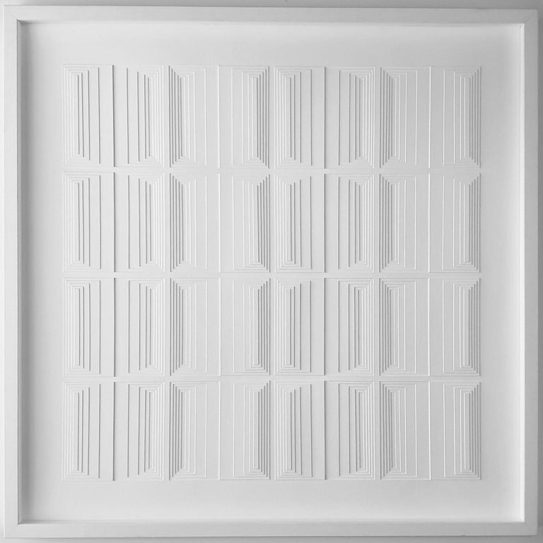 Eef de Graaf Abstract Sculpture - Vertical Process 2A - contemporary modern abstract geometric painting relief