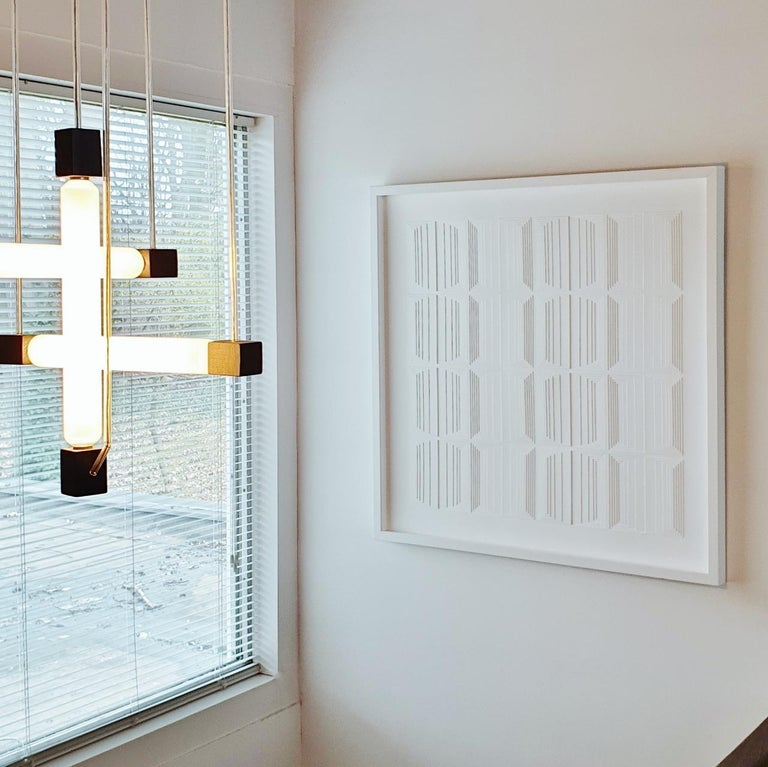 Vertical Process 2A - contemporary modern abstract geometric painting relief - Sculpture by Eef de Graaf