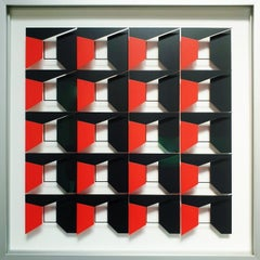 MG911 - contemporary modern abstract geometric film on glass painting relief