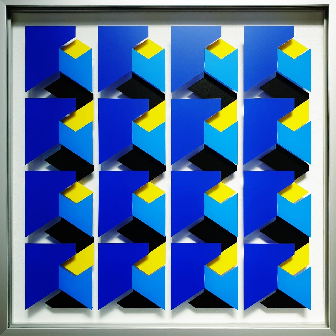 MG913 - contemporary modern abstract geometric film on glass painting relief