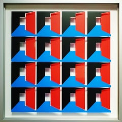 MG914 - contemporary modern abstract geometric film on glass painting relief