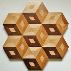 Cubes - contemporary modern abstract geometric wood veneer painting object