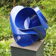 Axis Blue - ultramarine blue contemporary modern abstract steel sculpture