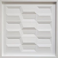 W3K 719 - white contemporary modern abstract geometric painting relief