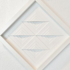 Diamond shaped object XI - white contemporary modern abstract painting relief