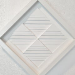 8 triangulairs to squares  XIII - white contemporary modern painting relief