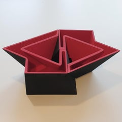 SC1503 red - contemporary modern abstract geometric ceramic object sculpture