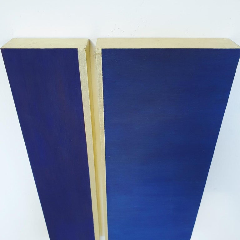 Rayon lumineux - blue gold contemporary modern sculpture painting relief For Sale 3