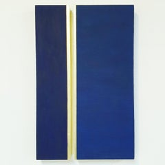 Rayon lumineux - blue gold contemporary modern sculpture painting relief