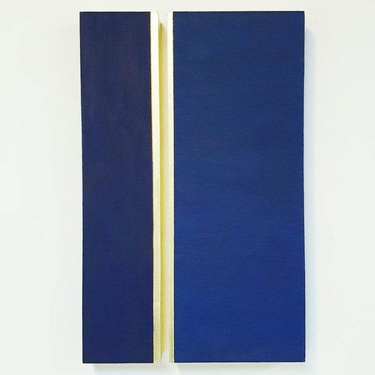 Olivier Julia Abstract Painting - Rayon lumineux - blue gold contemporary modern sculpture painting relief