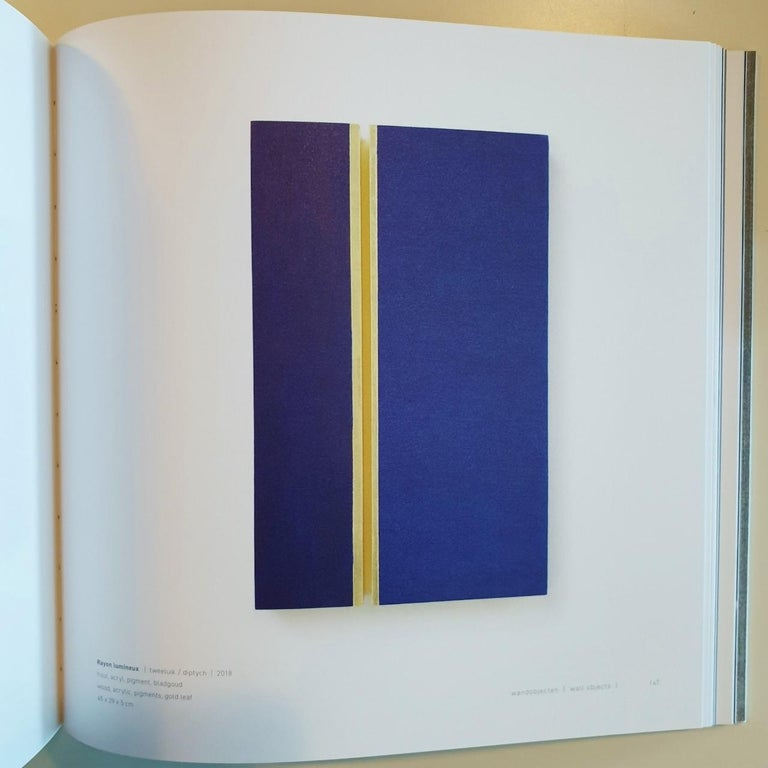Rayon lumineux - blue gold contemporary modern sculpture painting relief For Sale 9