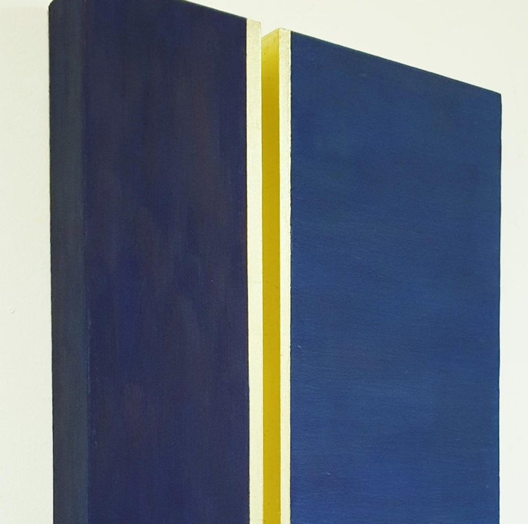 Rayon lumineux - blue gold contemporary modern sculpture painting relief - Contemporary Painting by Olivier Julia