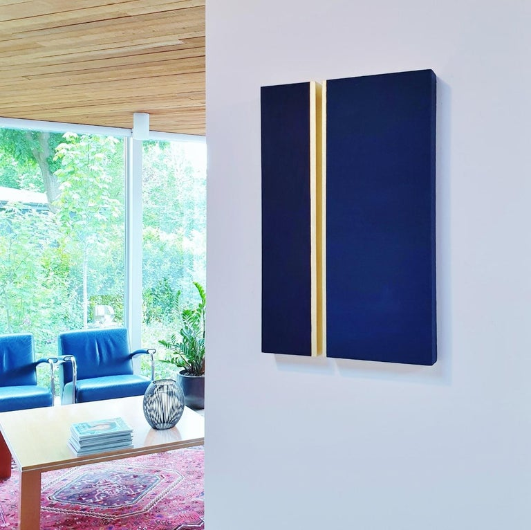 Rayon lumineux - blue gold contemporary modern sculpture painting relief - Painting by Olivier Julia