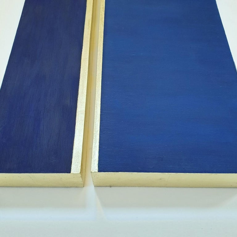 Rayon lumineux - blue gold contemporary modern sculpture painting relief For Sale 4