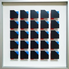 MG804 - contemporary modern abstract geometric film on glass painting relief