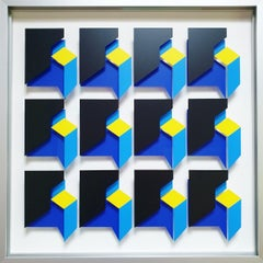 MG912 - contemporary modern abstract geometric film on glass painting relief