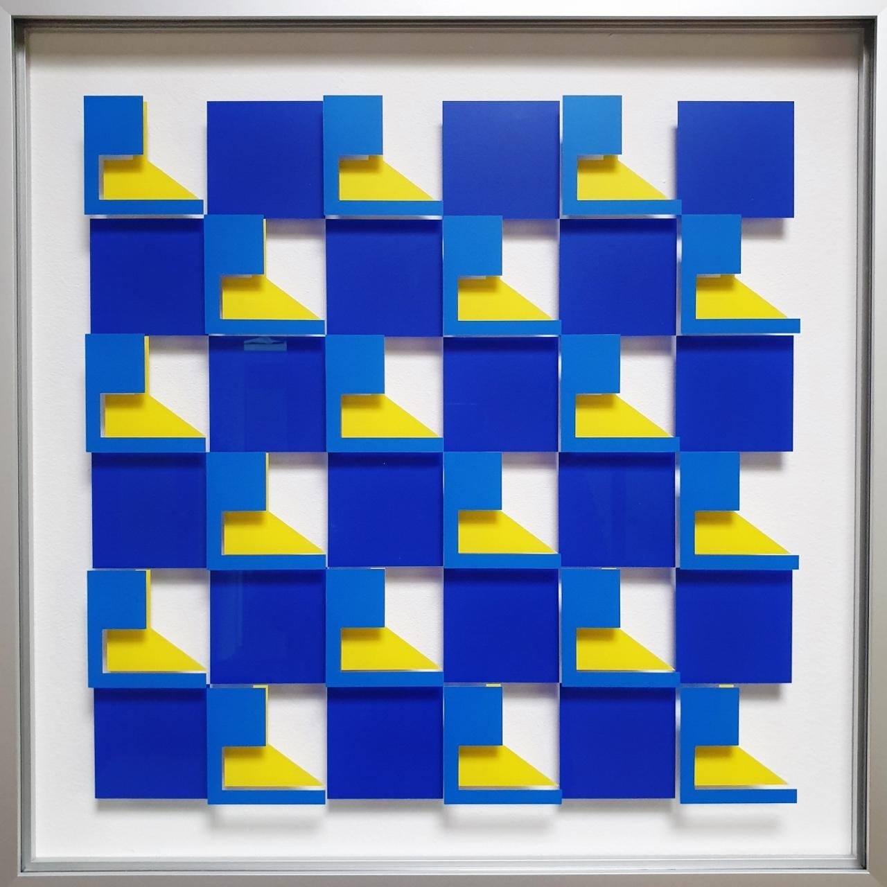 MG903 - contemporary modern abstract geometric film on glass painting relief