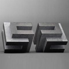 Frames Duet - black grey contemporary modern belgian bluestone sculpture
