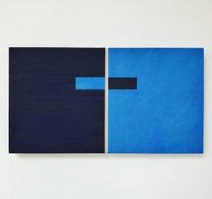 Juxtaposition IV - contemporary modern geometric sculpture painting panel