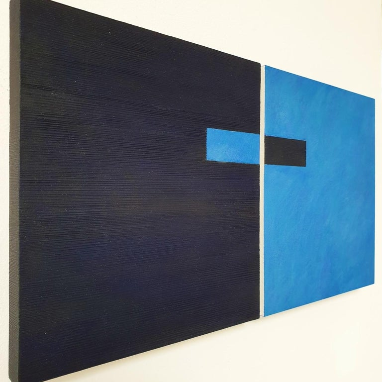 Juxtaposition IV - contemporary modern geometric sculpture painting panel - Abstract Geometric Painting by Olivier Julia