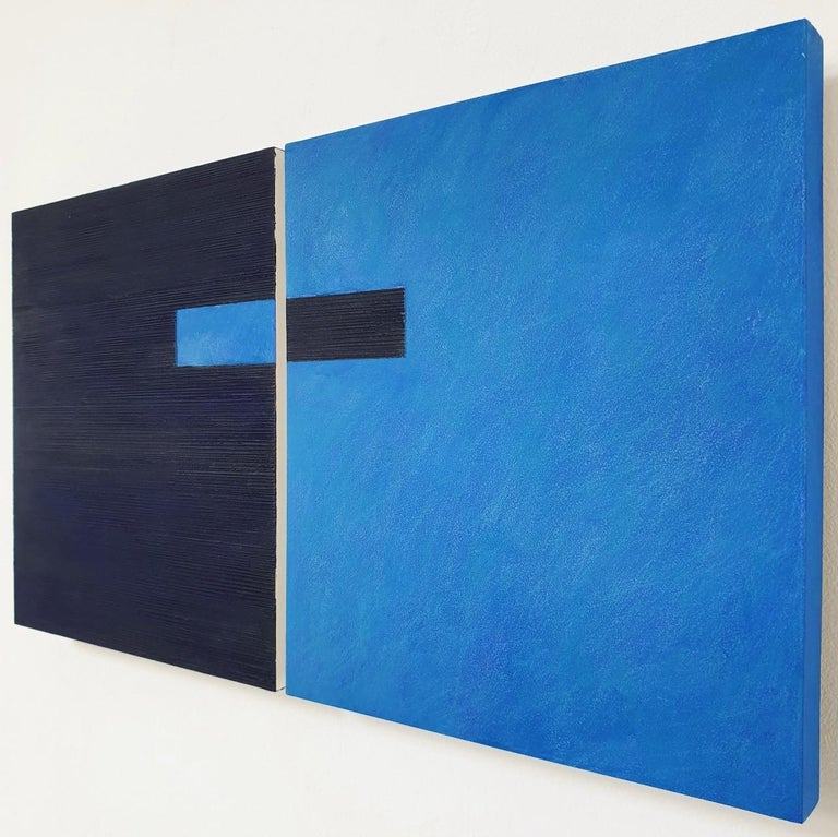 Juxtaposition IV - contemporary modern geometric sculpture painting panel - Blue Abstract Painting by Olivier Julia