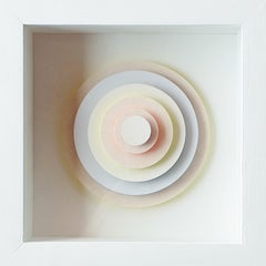 6 Circles - white contemporary modern abstract geometric stacked paper relief