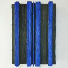 Space - black blue contemporary modern abstract sculpture painting