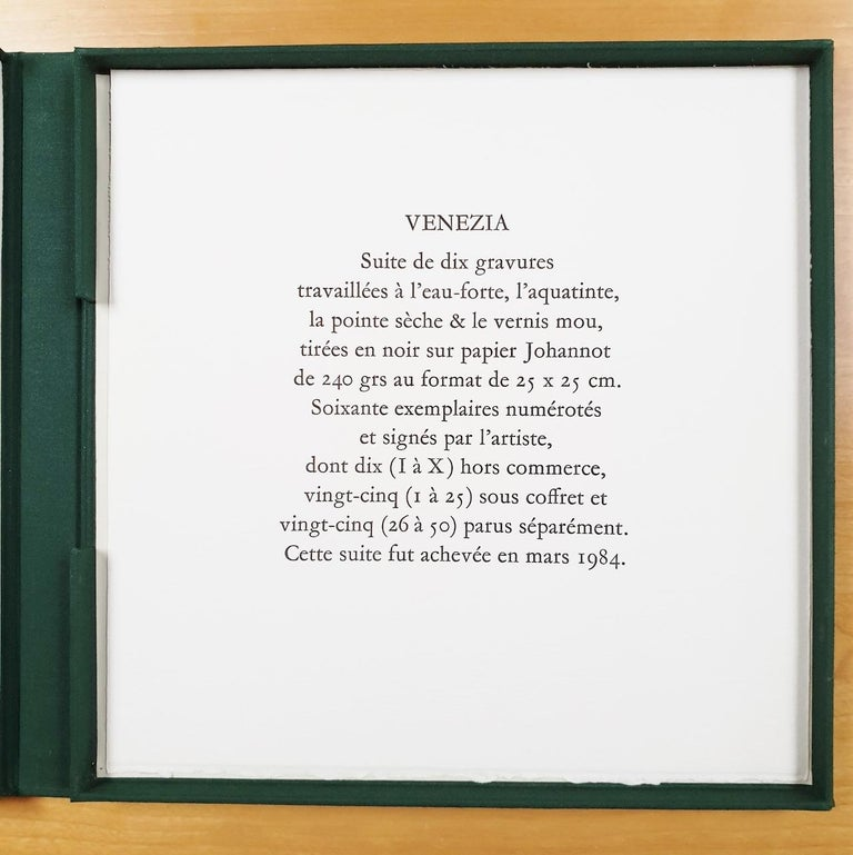 Venice  14/50 - collectors box with ten black-white etching aquatint prints  For Sale 14
