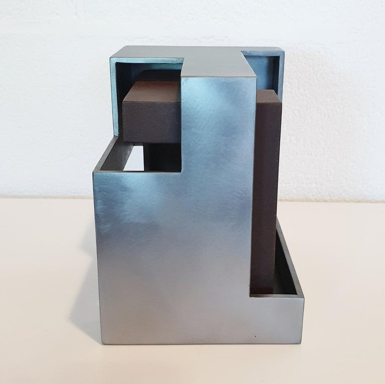 Pareja 03 - contemporary modern abstract geometric steel sculpture - Gray Abstract Sculpture by Eduardo Lacoma