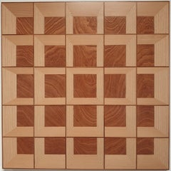 Grid 20-03 - contemporary modern abstract geometric wood veneer painting object