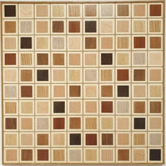 Grid 10x10 - contemporary modern abstract geometric wood veneer painting object