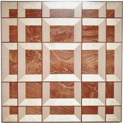 Grid 20-04 - contemporary modern abstract geometric wood veneer painting object