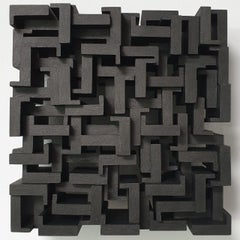Dédale - grey black contemporary modern abstract sculpture painting relief