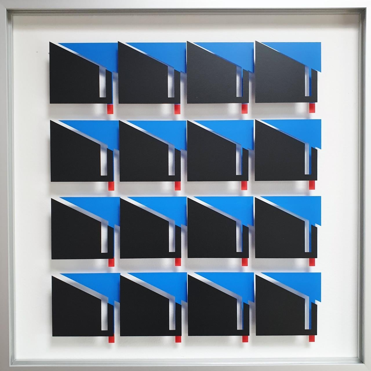 MG811 - contemporary modern abstract geometric film on glass painting relief