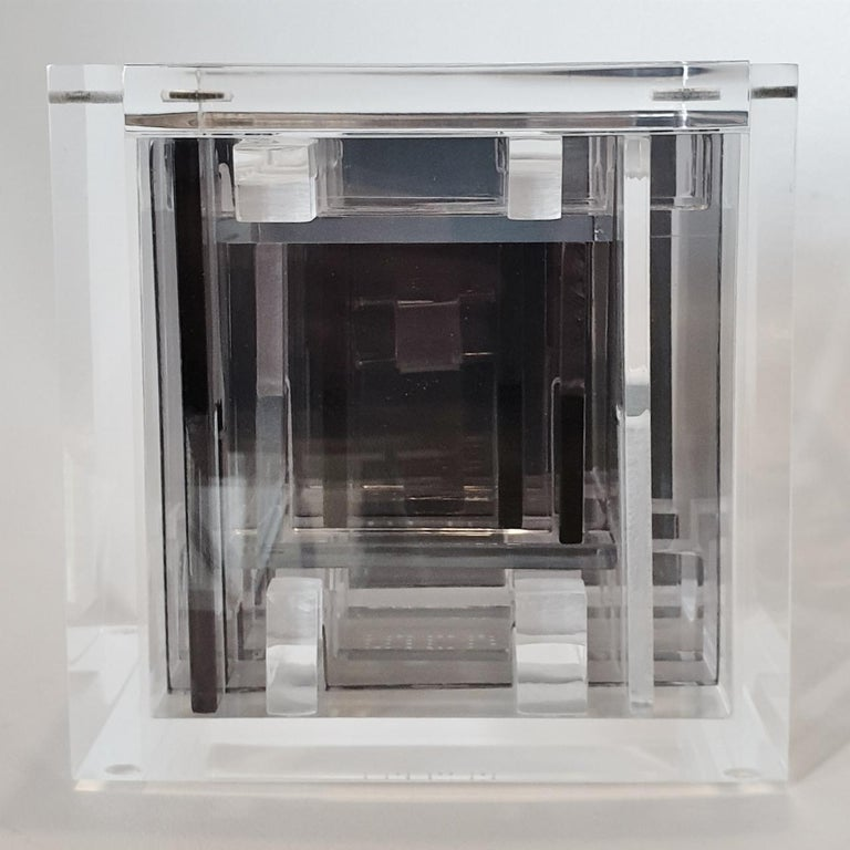 Homage to Bach - contemporary modern abstract geometric cube sculpture For Sale 1