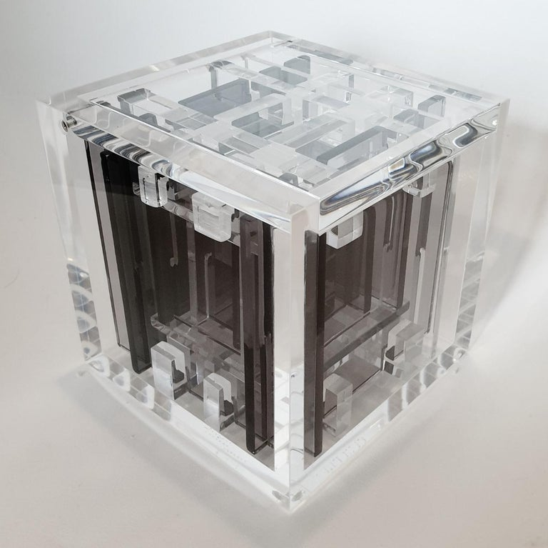 Homage to Bach - contemporary modern abstract geometric cube sculpture - Abstract Geometric Sculpture by Haringa + Olijve