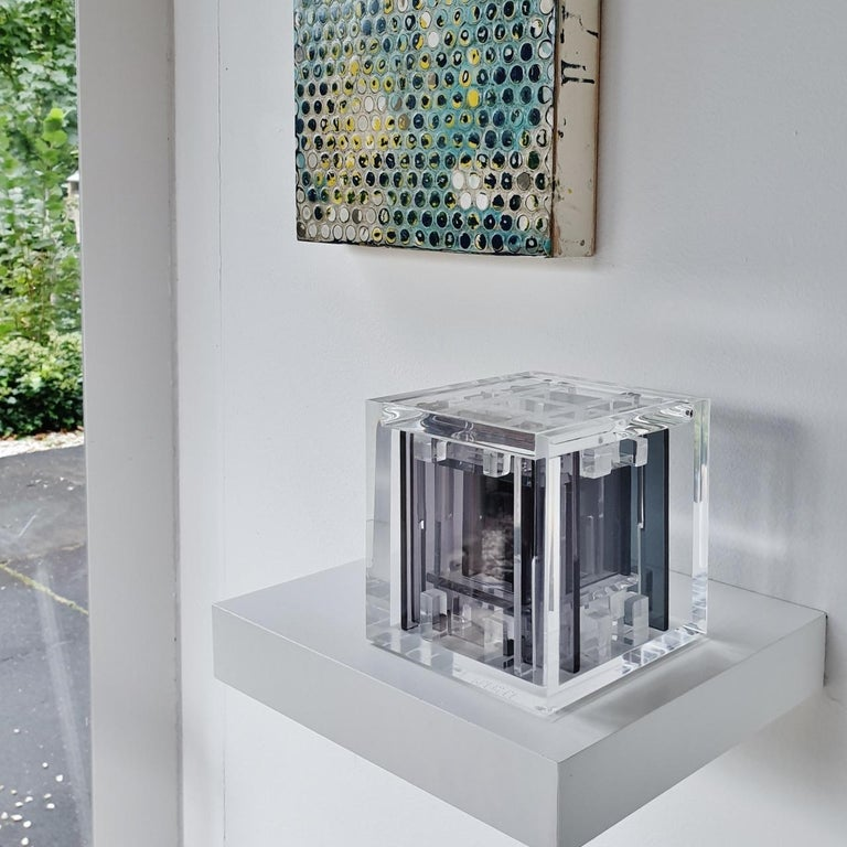Homage to Bach - contemporary modern abstract geometric cube sculpture - Sculpture by Haringa + Olijve