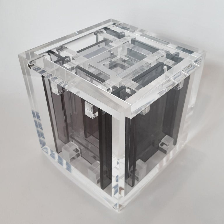 Homage to Bach - contemporary modern abstract geometric cube sculpture - Gray Abstract Sculpture by Haringa + Olijve