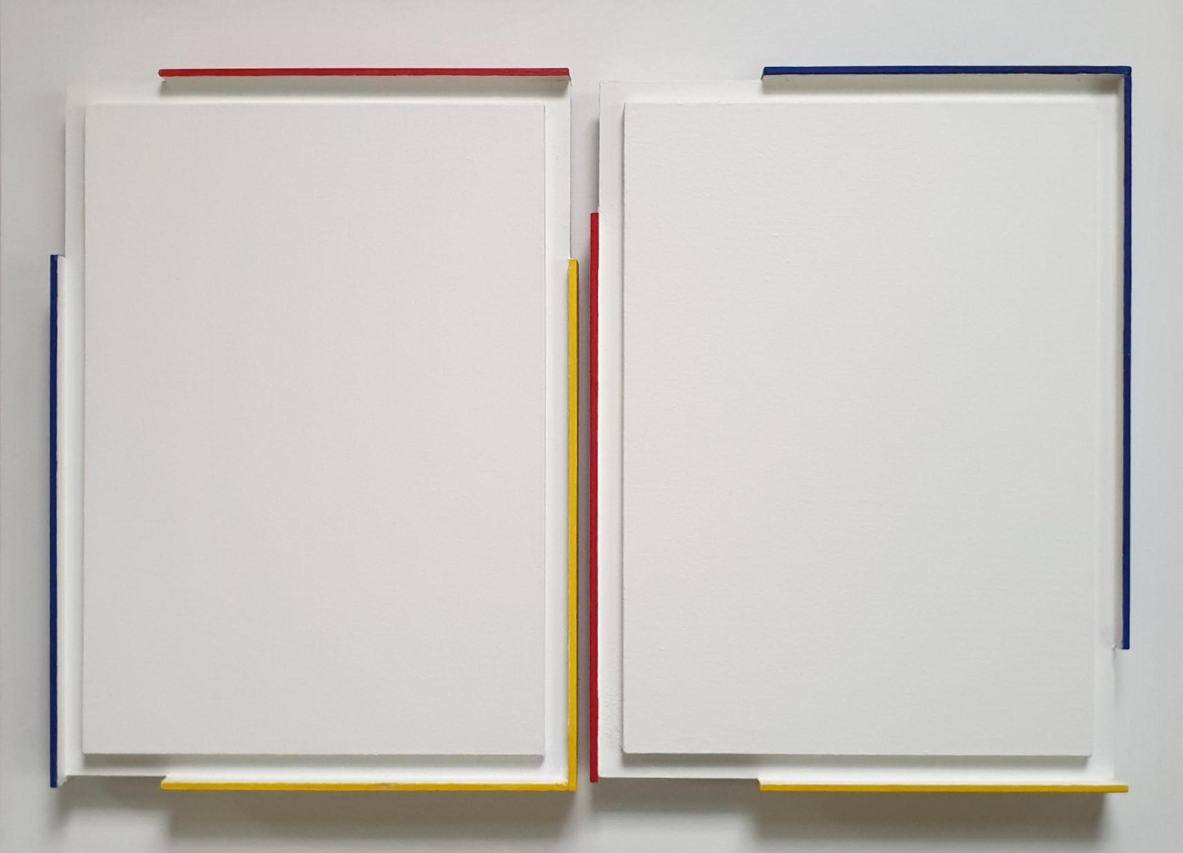 Double Contour du Blanc - contemporary modern Henri Prosi painting relief
