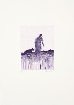 Purple, Contemporary, Figurative, Line Etching, Fine Art Limited Edition Print