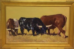 Bulls Grazing,  original 24x48 contemporary landscape
