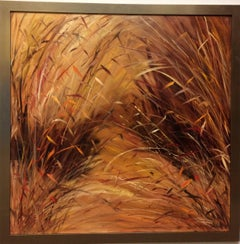 Grain in Fall, original 36x36 contemporary landscape