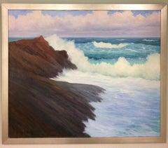 Maine Surf, original 32X38 impressionist marine landscape