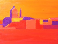 Summer Heat, Venice, original 30x40 abstract contemporary Italian landscape