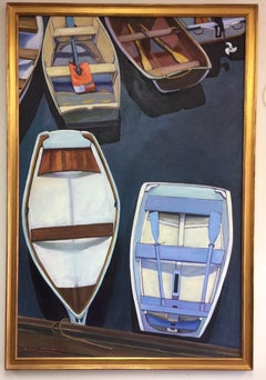 Dinghies from Above, original 48x32 contemporary landscape