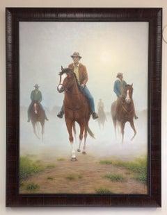 The Horsemen, original 40x30 realistic equestrian landscape