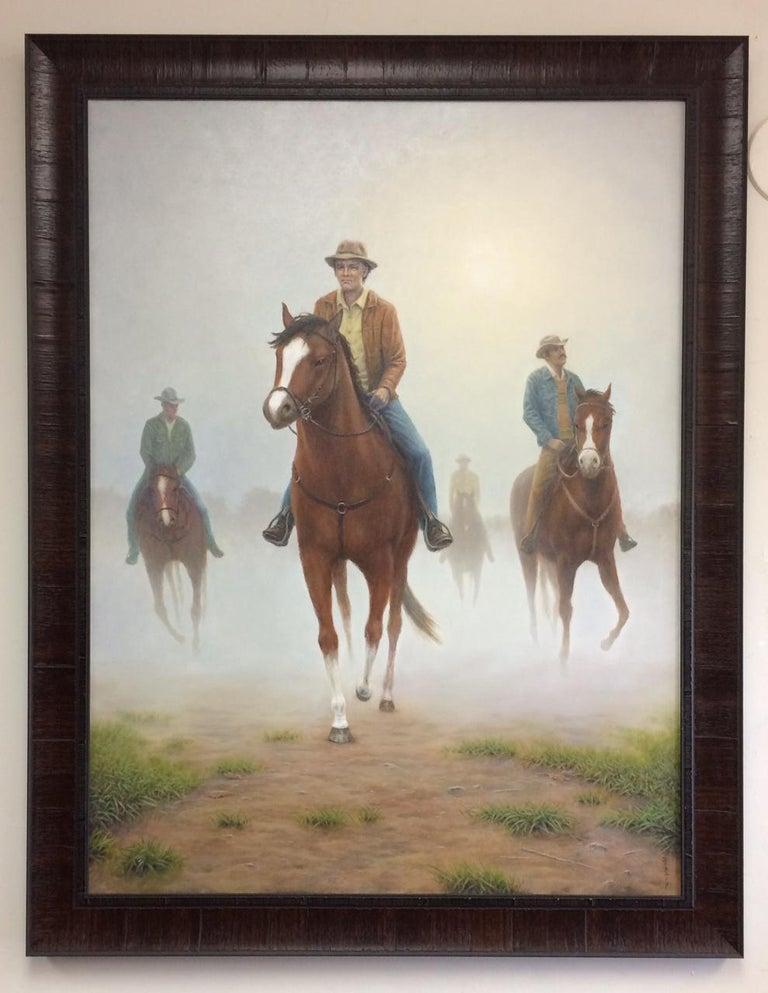Barry DeBaun Landscape Painting - The Horsemen, original 40x30 realistic equestrian landscape