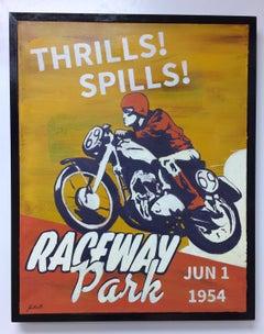 Raceway in 1954, original pop art landscape oil painting