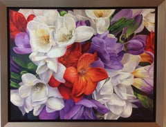 Freesia, original contemporary photorealist floral landscape